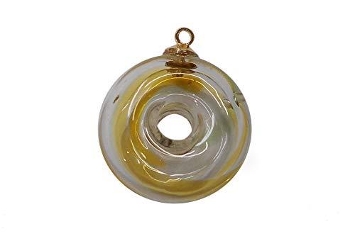 SHAREKI アクセサリー ガラス容器 ハーバリウム ガラスドーム ドーナツ形ガラス アロマ・香水ペンダント 直径20mm gla-ac39 (イエローマーブル)
