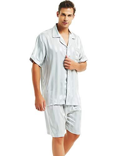 Herren Seide Schlafanzug Kurz Grau XXX-Large