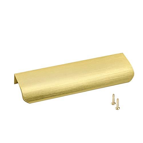 Goldenwarm 10x Aluminium 128mm Küchengriffe Profilgriff Gold Schrankgriffe, Türgriff Geschwungener Schubladengriff, Verdeckter Möbelgriffe Garderobe Griffe
