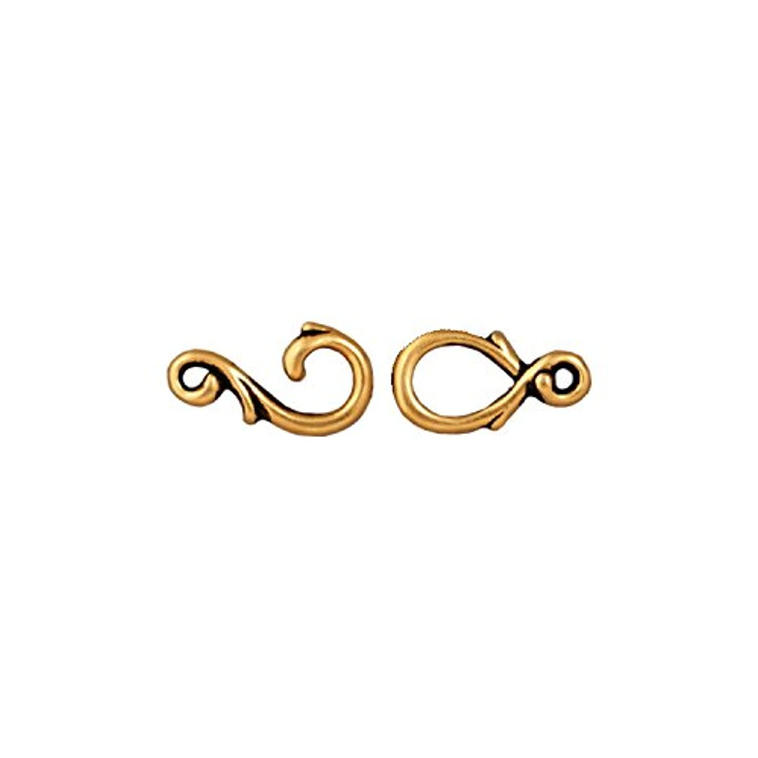 TierraCast Hook Eye Vine, 7x23mm, Antiqued 22K Gold Plated Pewter, 2-Set/Pack