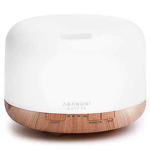 ASAKUKI 500ml Essential Oil Diffuser, Premium 5 In 1 Ultrasonic Aromatherapy Scented Oil Diffuser Vaporizer Humidifier, Timer and Waterless Auto-Off, 7 LED Light Colors