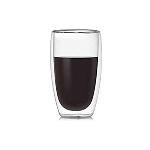 laoonl Tazas de café de vidrio de doble pared, resistente al calor de doble capa de vidrio térmico, taza en forma de huevo para bebida, café, leche, café, té 80/150/250/350/450ml