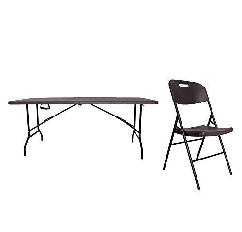 XONE Tavolo Pieghevole + 6 Sedie (86x45x50cm) Stampo Legno Dark con Struttura in Metallo e Piano in Resina, Dimensioni Tavolo 180x75,5x74cm per Interni e Giardino