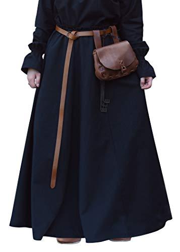 Battle-Merchant Mittelalterlicher Rock, weit ausgestellt, div Farben S-XXL - Mittelalter Kleidung Magd - Wikinger LARP Damen lang (Schwarz, XL)