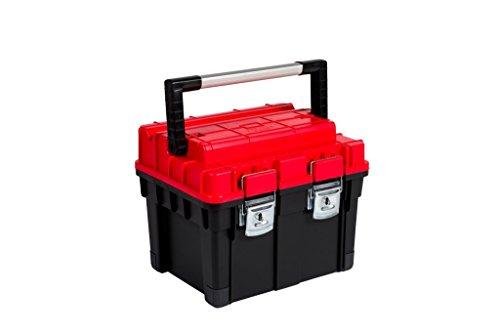 Kreher XL Werkzeugkoffer, Werkzeugbox mit Aluminium Griff, Metallverschlüssen, Schneidvorrichtung und Spritzwasser geschütztem Korpus. Sehr solide in Schwarz und Rot. Maße ca. 45 x 35 x 35 cm.
