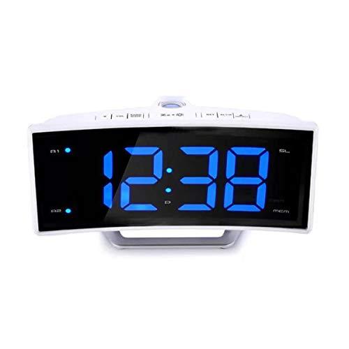 Cabecera Cuarto Silencio Despertadores Reloj De Alarma De Proyección Reloj De Alarma Digital Con Temperatura, LED Grande LED Curved FM Radio FM Proyector De Techo Alarma Regalo ( Color : Blanc )