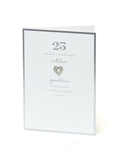 Hanson 387092-0-1 - Tarjeta de felicitación de 25 aniversario, color blanco