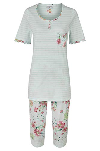 Ringella Lingerie Damen *Pyjama mit Caprihose helle Lagune 40 0261225, helle Lagune, 40