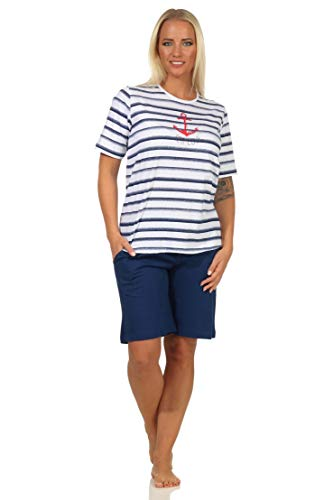 Maritimer Damen Kurzarm Schlafanzug Shorty, Oberteil mit Anker Motiv, auch in Übergrössen, Farbe:Marine, Größe:40-42