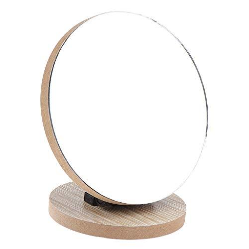 Faltbar Standspiegel Kosmetikspiegel Schminkspiegel Rasierspiegel für Badezimmer und Wohnzimmer, aus Glas und Holz - 12,5 cm