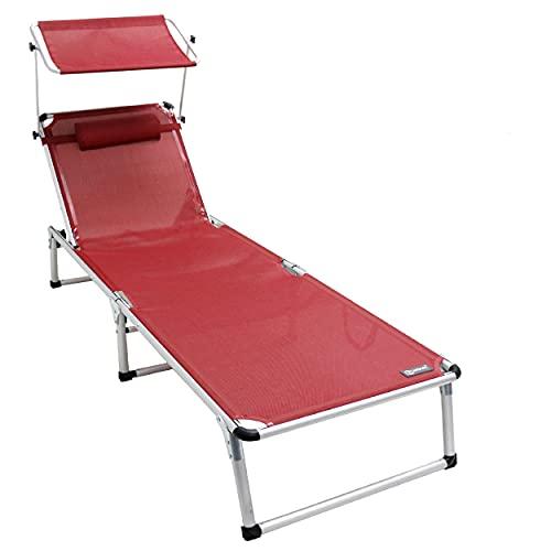 Homecall Lettino Pieghevole in Alluminio con Parasole, Rosso