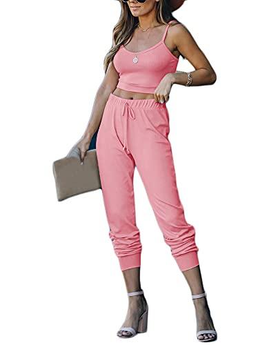 Conjunto Chandal Mujer Completo Verano Fitness Chaleco Crop Top Y Pantalones Completo Trajes de 2 Piezas Deporta Yoga Set Suave Y Cómodo Ropa de Salón,Pink,XXL