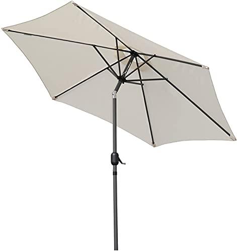 Angel Living 270cm Parasol de Jardín Sombrilla de Aluminio con Mecanismo de Inclinación Sombrilla con Mástil de Aluminio de 38mm para Jardín Patio Playa (Beige Claro)