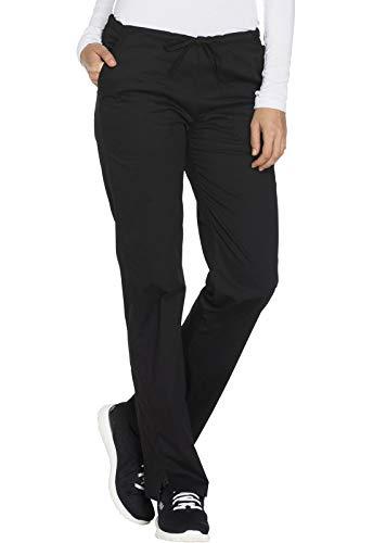Cherokee Workwear Core Stretch Mid Rise Straight Leg Drawstring Scrub Pant, XS Tall, Black