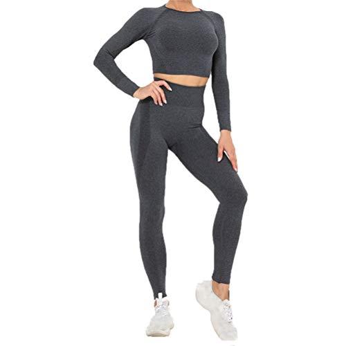 Mujer Mallas Leggins Top Conjuntos, Trajes de entrenamiento de 2 piezas Yoga chándal inconsútil de la alta cintura polainas delgadas de manga larga Sports Shirts Operando Crop Top Gym ropa Conjunto de
