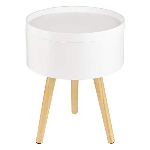 ONVAYA® Beistelltisch Sofia aus Holz | Weiß | Holz | Ø 35 cm | Couchtisch rund | Nachttisch Kiefer | Stauraum & Abnehmbarer Deckel | Modernes skandinavisches Design