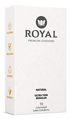 Royal Tailored Fit Ultra Thin Condoms - All Natural, Organic, Gluten Free, Nitrosamine Free, Cruelty Free Vegan, Latex Covered in Odor Free Water Based Premium Lube, 10 Pack (Regular)