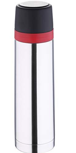 Thermoskan 1L roestvrij staal met beker isoleerkan 1 liter baby onderweg dubbelwandig (thermofles, koude en warme dranken, isolatiefles, 1000 ml)