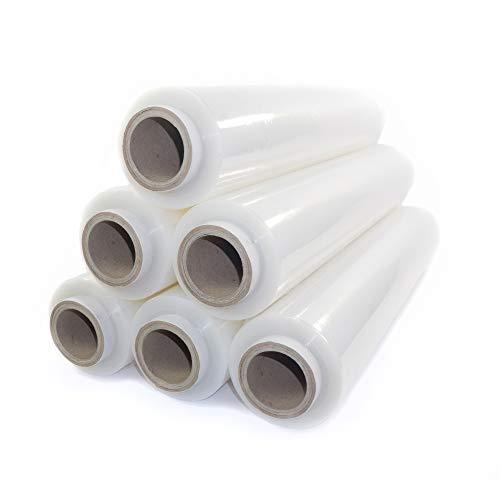 6x transparente Stretchfolie 23my 500 mm 2,5 kg transparente Folie Polyethylen Folie Cast-Film transparent Plastikfolie Einpackfolie Umzugsfolie Verpackungsfolie Hand-Folie durchsichtig