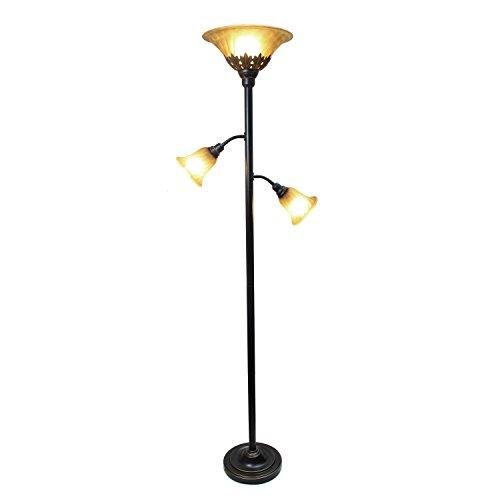 Elegant Designs LF2002-RBZ 3 Light Floor Lamp with Scalloped Glass Shades, 3.9, Restoration Bronze/Champagne