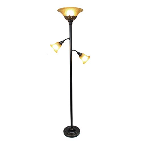heavy duty Elegant Design LF2002-RBZ 3 Light Floor Lamp, Scalloped Glass Shade, 3.9, Restoration Bronze / Champagne