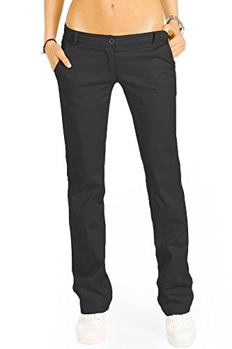 bestyledberlin Elegante Damen Chino, Schicke Regular Fit Stoffhosen, Ausgestellte Sommer Hosen j20k 38/M schwarz