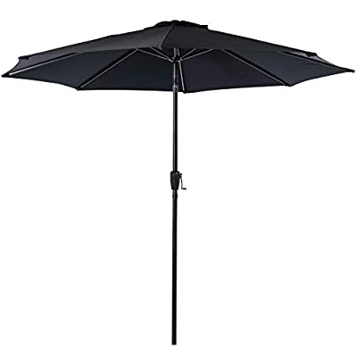 Sundale Outdoor 10FT Patio Umbrella Table Umbrella Market Umbrella with Aluminum Pole & Auto Tilt, Polyester Canopy Shade for Patio, Garden, Deck, Backyard, Pool, Black