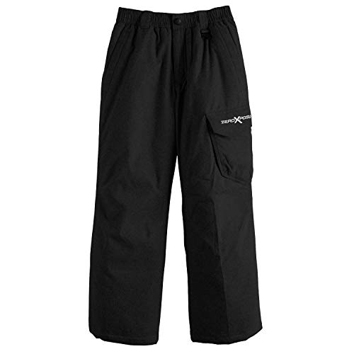 ZeroXposur Boys Snow Pants, Skiing Snowboarding Water Resistant Trousers (Black, Small)