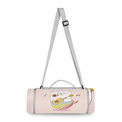 Katze Meerjungfrau Gitarre Liebeslied Picknickdecke wasserdicht Kreative Runde Picknick-Matte Kampierende Strand Yoga Decken Matten im Freien Faltbar Leicht Matte Decke mit Tragegriff(148cm x 148cm)