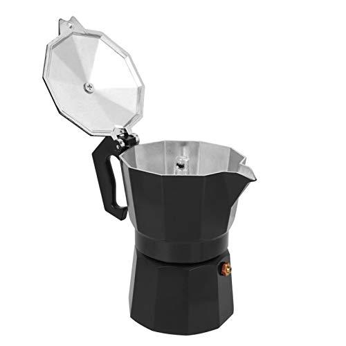 Suministros para el hogar, seguro, resistente al óxido, ligero, más duradero, con caño de flujo de precisión, olla Moka, cocina de té para cocina de inducción, café(black)