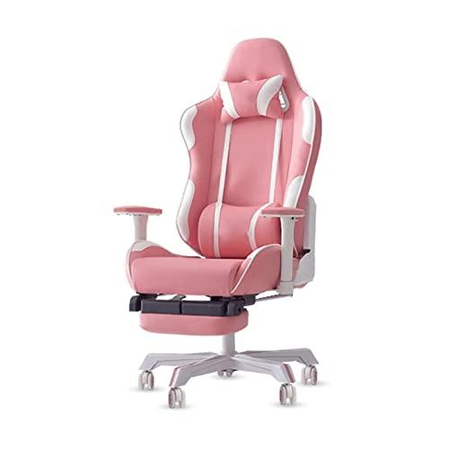 WYKDL Silla de Juego, Silla de computadora de Carreras reclinable con reposabrazos de elevación giratoria, reposacabezas y Soporte Lumbar, diseño ergonómico (Color: Rosa)