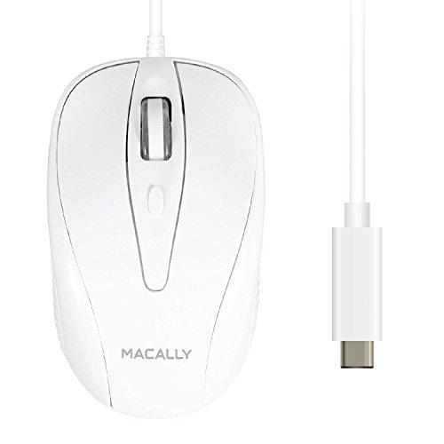 Macally UCTURBO - Ratón con Cable USB-C de 3 Botones para MacBook, MacBook Pro, Color Blanco