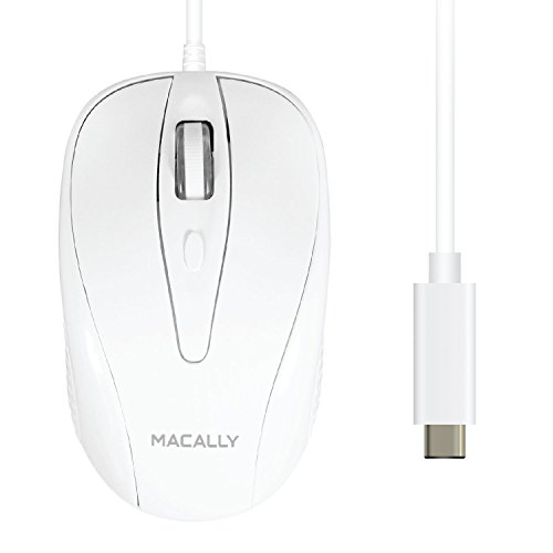 Macally UCTURBO, MacBook Maus USB C, optisch mit Kabel, Mouse für USB-C Notebook und Laptop, weiß / grau