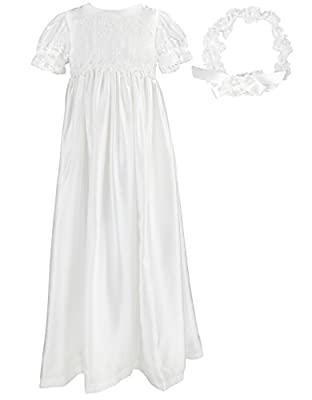 NIMBLE Baby Girls Baptism Christening Embroidered Gown with Headband for 0-3 Months
