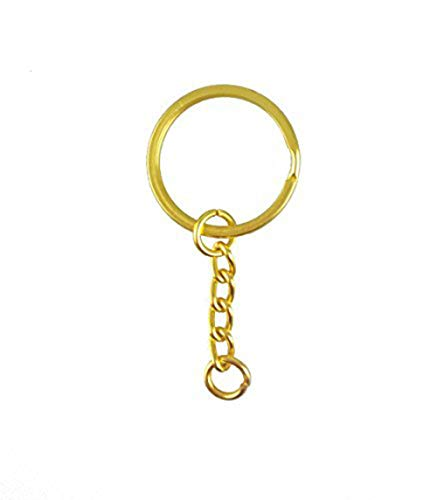 """yueton Pack of 100 25mm/0.98"""" Metal Split Key Ring with Chain (Gold) Delaware"""