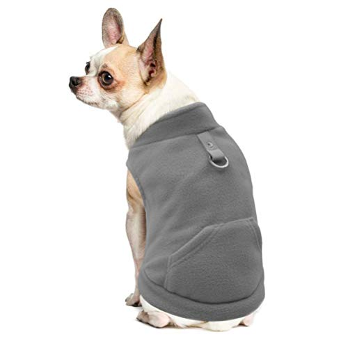 EXPAWLORER Fleece Autumn Winter Cold Weather Dog Vest Harness Clothes with Pocket for Small Dogs (X-Small, Grey)