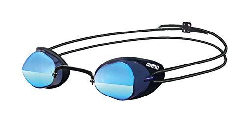 arena Unisex Wettkampf Schweden Schwimmbrille Swedix Mirror (Verspiegelt, UV-Schutz, Anti-Fog Beschichtung), schwarz (Smoke-Blue-Black), One Size
