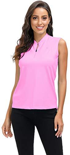 MoFiz Mujer Camiseta sin Manga Verano Henley Polo con Cuello Zip Rosa L