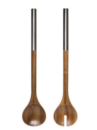 Laurel 2 Piece Salad Utensils Made of Acacia Wood With Stainless Steel