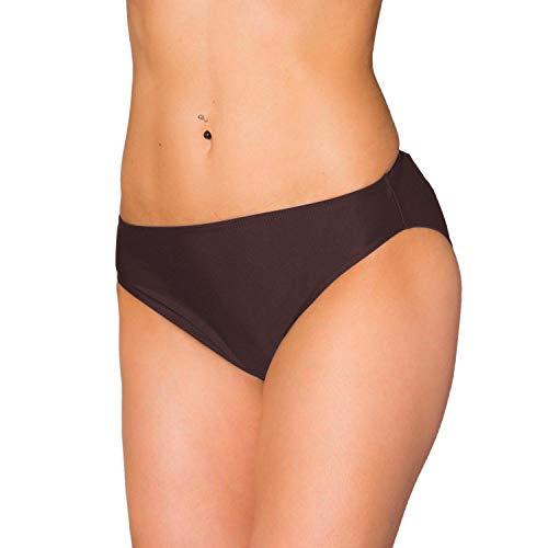Aquarti Damen Bikini Hose mit mittelhohem Bund, Farbe: Braun, Größe: 40