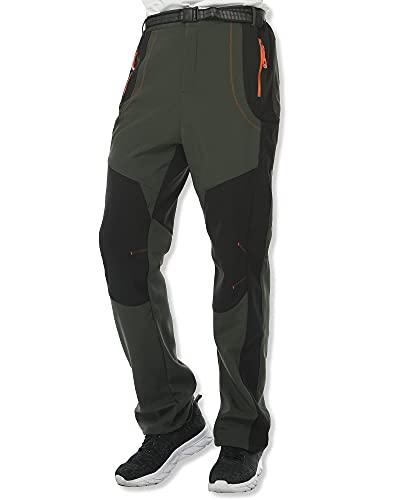 SOLOYEE Pantalones de senderismo para hombre, gruesos, con forro de terciopelo, impermeables, de secado rápido, con cinturón ajustable, verde, XXL