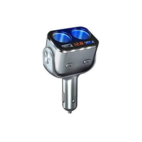 YYOMXXOM Nuevo Encendedor de Cigarrillos de Cigarrillo de 12V-24V Cargo DE Coche Dual USB Dual QC 3.0 Carga rápida con Pantalla de Voltaje de Interruptor (Color Name : Silver)