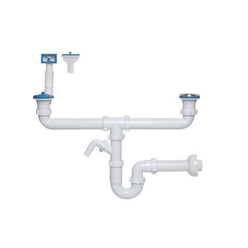 Doppelter Siphon für Spülbecken mit Anschluss an Geschirrspüler Spülen Siphon dopelt Sifon Syphon für die Spüle