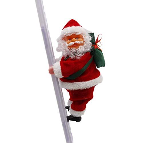 Amosfun Santa Claus Escalera de Escalada eléctrica Santa Claus muñeca Juguete Adornos para árboles de Navidad Fiesta de Navidad favores para Fiesta Puerta de casa Decoraciones de Pared Juguete para