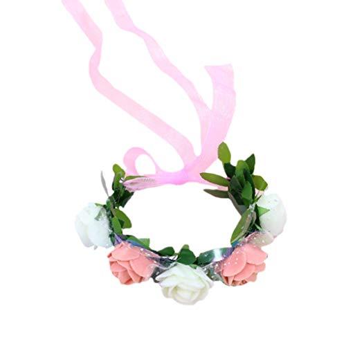 WDFVGEE - Pulsera de muñeca para mujer y niña, color caramelo de contraste, 5 flores de espuma, para novia, dama de honor, boda, onda, cinta de malla para decoración de pared