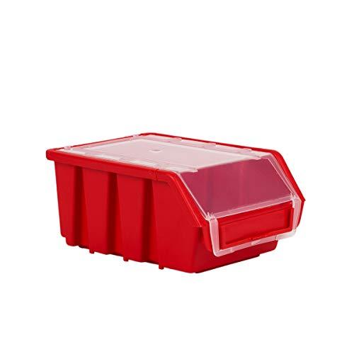 10 Stck Sichtlagerkästen mit Deckel Rot XL