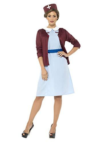 Smiffy's - dames vintage verpleegster kostuum, jurk, cardigan, riem en hoed, blauw