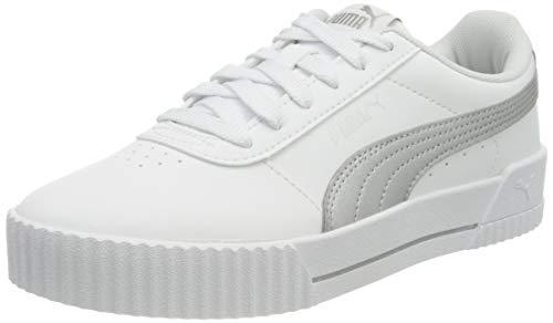 PUMA Damen Carina Meta20 Sneaker, Weißsilber, 40.5 EU