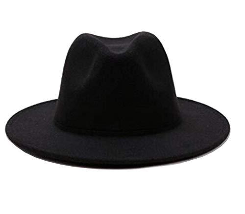 TUPWEL Women's Black Elegant Wide Brim Fedora Flat Panama Hat Cap