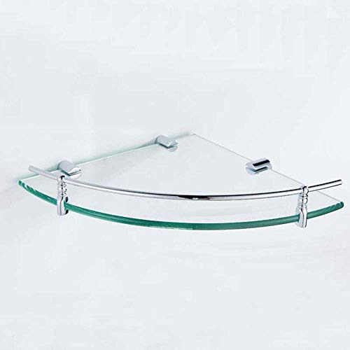FCXBQ Marco de Vidrio para baño, Esquina de baño de Cobre Marco de Vidrio Templado Triángulo para Colgar en la Pared Triángulo Estante de Vidrio para baño (Color: A26.4X26.4X4.5cm)
